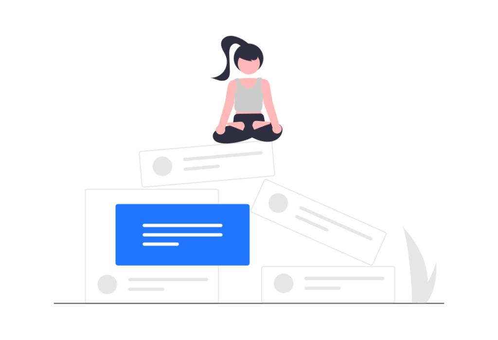 illustration of woman sitting on social media posts