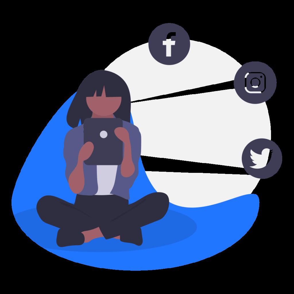 girl creating social media posts